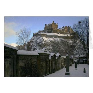 Cartão Castelo de Edimburgo na neve