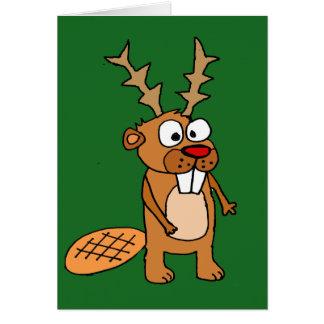 Cartão Castor engraçado com arte do Natal dos Antlers da