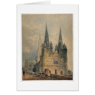 Cartão Catedral de Lichfield, Staffordshire, 1794 (w/c