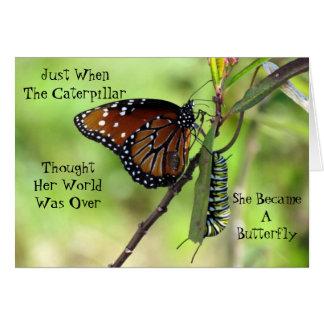Cartão Caterpillar/cartão citações da borboleta
