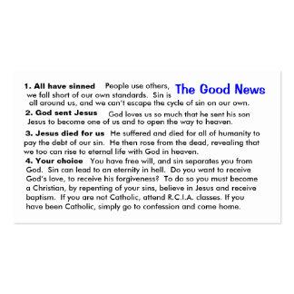 """Cartão católico da """"cábula"""" da evangelização cartão de visita"""
