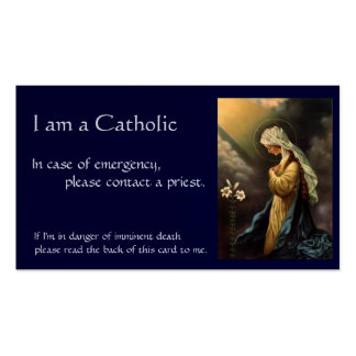 """Cartão católico da identificação """"em caso de cartão de visita"""