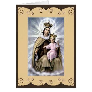 Cartão católico do santo nossa senhora de Monte