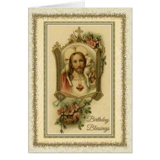 Cartão católico tradicional da bênção de Jesus do