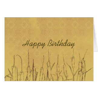 Cartão Cattails caneta do feliz aniversario e desenho da