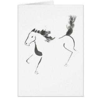 Cartão Cauda alta, ano de Sumi-e do cavalo
