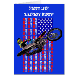 Cartão Cavaleiro alto do motocross do vôo e bandeira