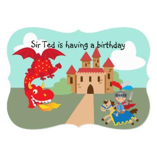 Cartão Cavaleiro da equitação e dragão de vôo vermelho