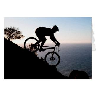 Cartão Cavaleiro do Mountain bike. Cabeça dos leões, Cape