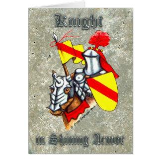 Cartão Cavaleiro na pintura de brilho da armadura