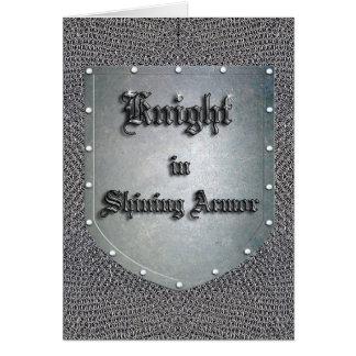 Cartão Cavaleiro no protetor de brilho Chainmail da