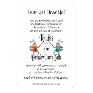 Cartão Cavaleiros da mesa da festa de aniversário