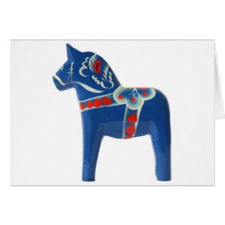 Cartão Cavalo azul de Dala do sueco