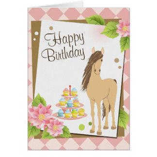 Cartão Cavalo bonito de Brown e feliz aniversario das