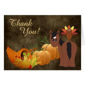 Cartão Cavalo bonito de Brown e obrigado do outono de