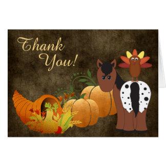 Cartão Cavalo bonito do Appaloosa e obrigado do outono de