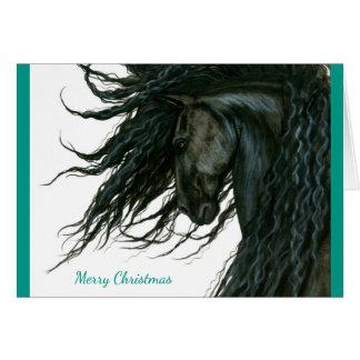 Cartão Cavalo bonito do frisão do cumprimento da estação