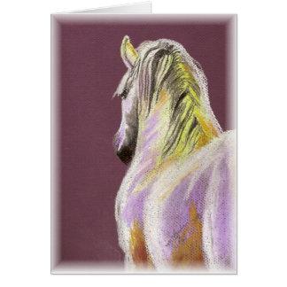 Cartão Cavalo branco no roxo