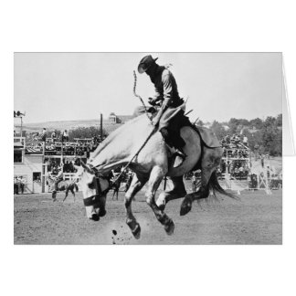 Cartão Cavalo bucking da equitação do homem no rodeio