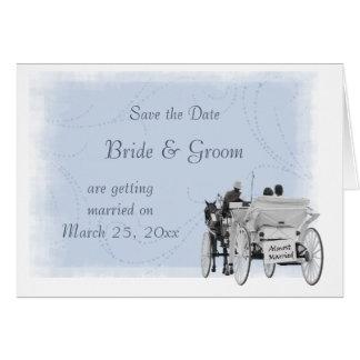Cartão Cavalo & carruagem - salvar a data - casada quase