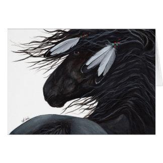 Cartão Cavalo da pena do nativo americano por BiHrLe
