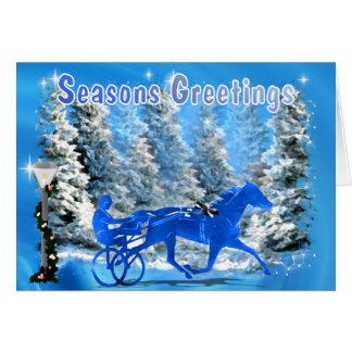 Cartão Cavalo de chicote de fios azul do Xmas