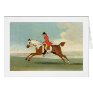 Cartão Cavalo de corrida de galope e jóquei montado no
