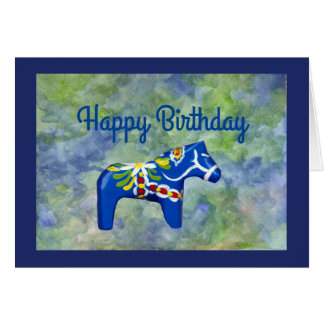 Cartão Cavalo de Dala do aniversário