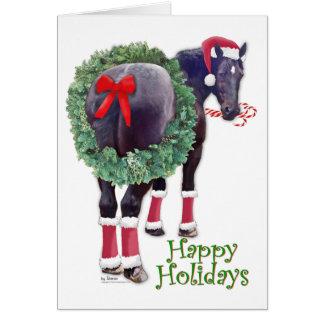 Cartão Cavalo de esboço de Percheron do Natal