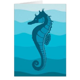 Cartão Cavalo de mar, ondas do Aqua, impressão azul de