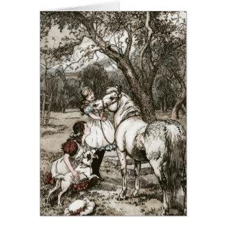 Cartão Cavalo de Merrylegs do livro preto da beleza por