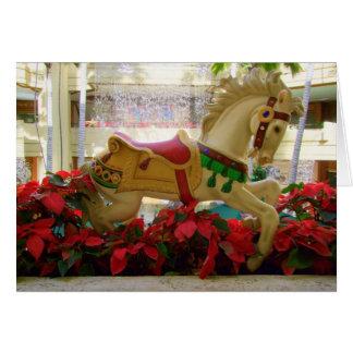 Cartão Cavalo do carrossel do Natal - 1