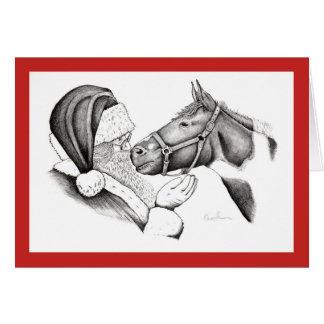 Cartão Cavalo do Feliz Natal, do Papai Noel e da pintura