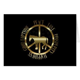Cartão Cavalo dourado da paz