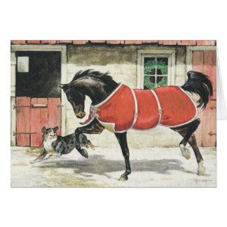Cartão Cavalo e cão do vintage do Feliz Natal