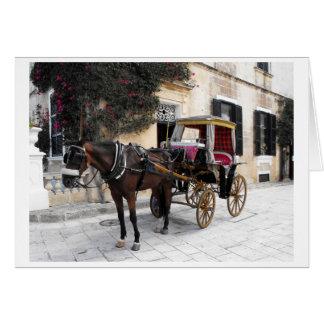 Cartão Cavalo e carruagem, Mdina, Malta