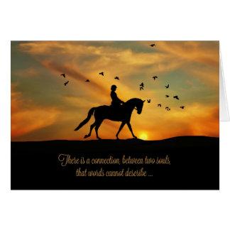 Cartão Cavalo e cavaleiro espirituais do adestramento da