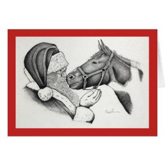 Cartão Cavalo e papai noel da pintura do Pinto do Natal