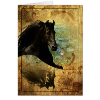 Cartão Cavalo em Monet - cartão, cumprimento/nota