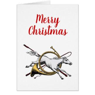 Cartão Cavalo equestre formal do Xmas que salta através