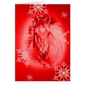 Cartão Cavalo & flocos de neve vermelhos
