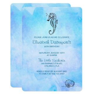 Cartão Cavalo marinho e Seashell no aniversário azul da