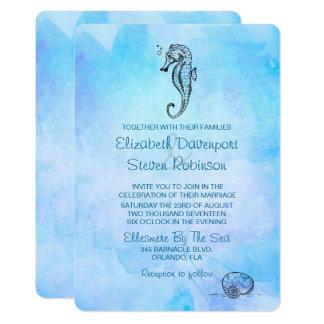 Cartão Cavalo marinho e Seashell no casamento azul da