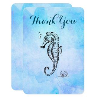 Cartão Cavalo marinho e Seashell no obrigado azul da