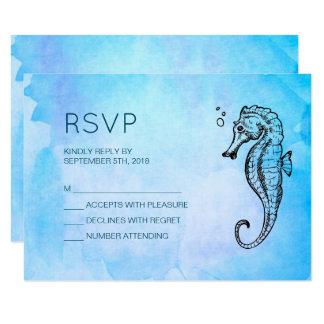 Cartão Cavalo marinho e Seashell RSVP Wedding náutico