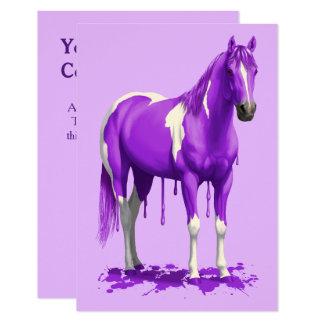 Cartão Cavalo molhado da pintura do gotejamento roxo