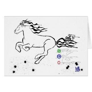 Cartão Cavalo que galopa à esquerda (bw) [cartão]