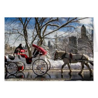 Cartão Cavalos de carruagem do inverno