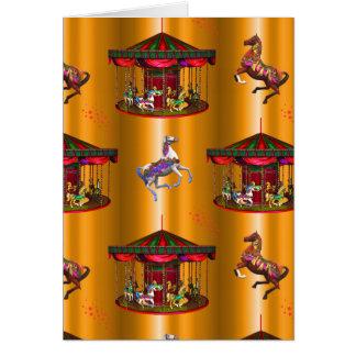 Cartão Cavalos do carrossel no ouro