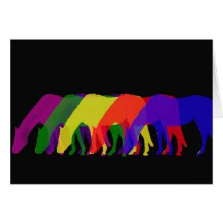 Cartão cavalos e cavalos em 6 cores brilhantes - gráfico